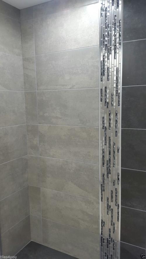 Metallic Shimmer Matt Grey Porcelain Kitchen Bathroom Wall