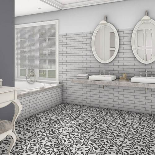 Grey Decorative Pattern Porcelain Floor