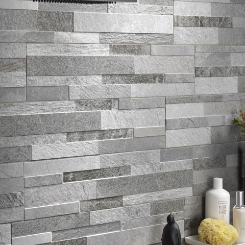 Grey Split Face Effect Cladding Mosaic Feature Porcelain